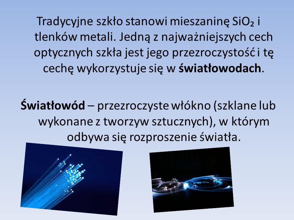 Tradycyjne szkło stanowi mieszaninę SiO₂ i tlenków metali.
