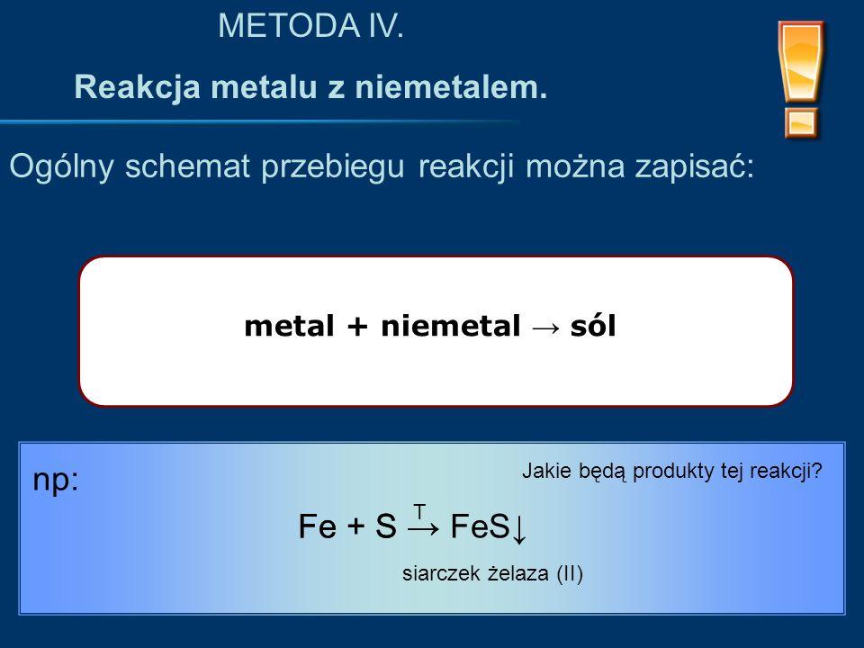 metal + niemetal → sól Ogólny schemat przebiegu reakcji można zapisać: METODA IV.