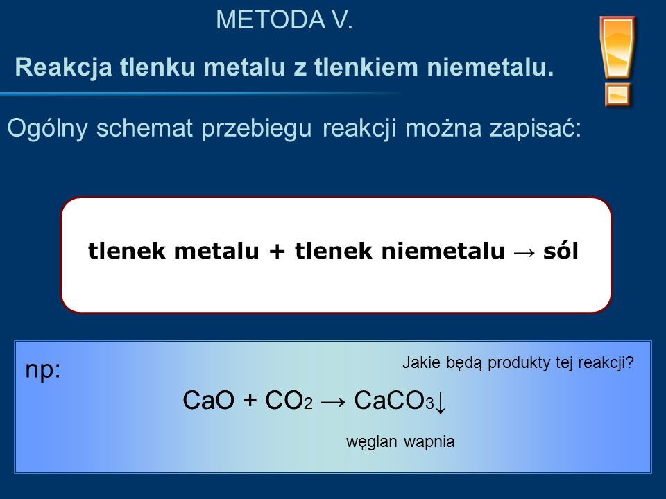 tlenek metalu + tlenek niemetalu → sól Ogólny schemat przebiegu reakcji można zapisać: METODA V.