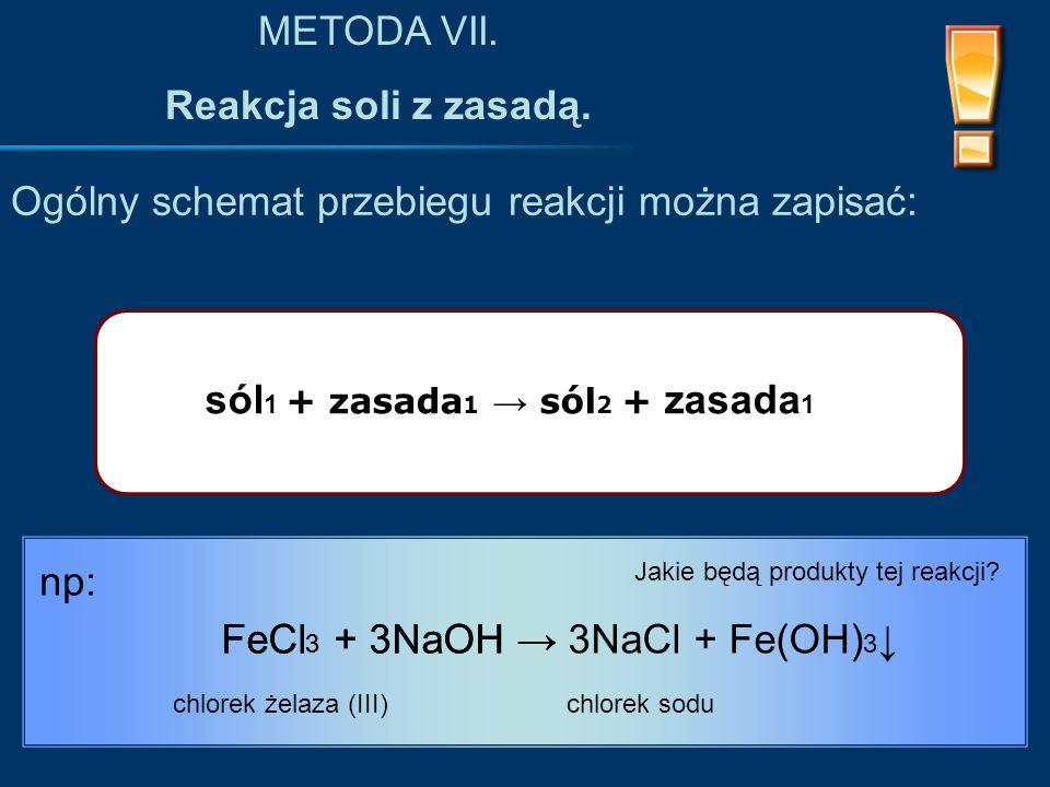 Ogólny schemat przebiegu reakcji można zapisać: METODA VII.