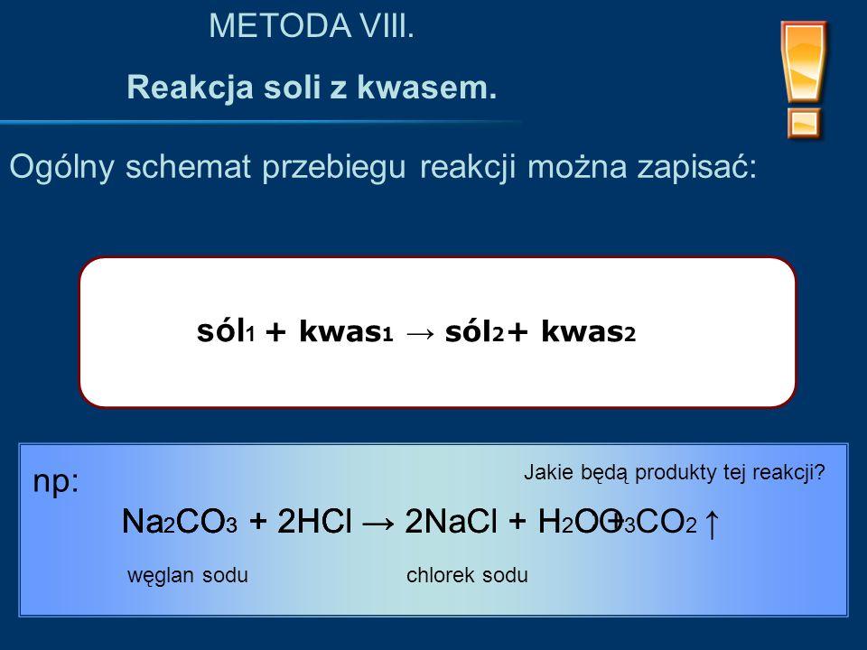 sól 1 + kwas 1 → sól 2 + kwas 2 Ogólny schemat przebiegu reakcji można zapisać: METODA VIII.
