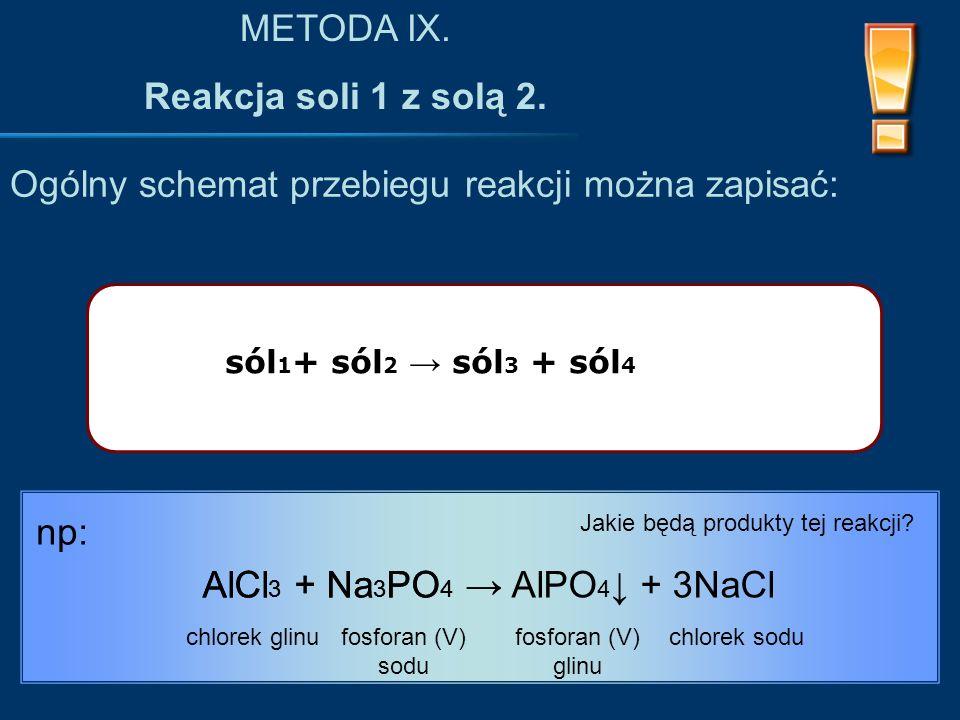 sól 1 + sól 2 → sól 3 + sól 4 Ogólny schemat przebiegu reakcji można zapisać: METODA IX.