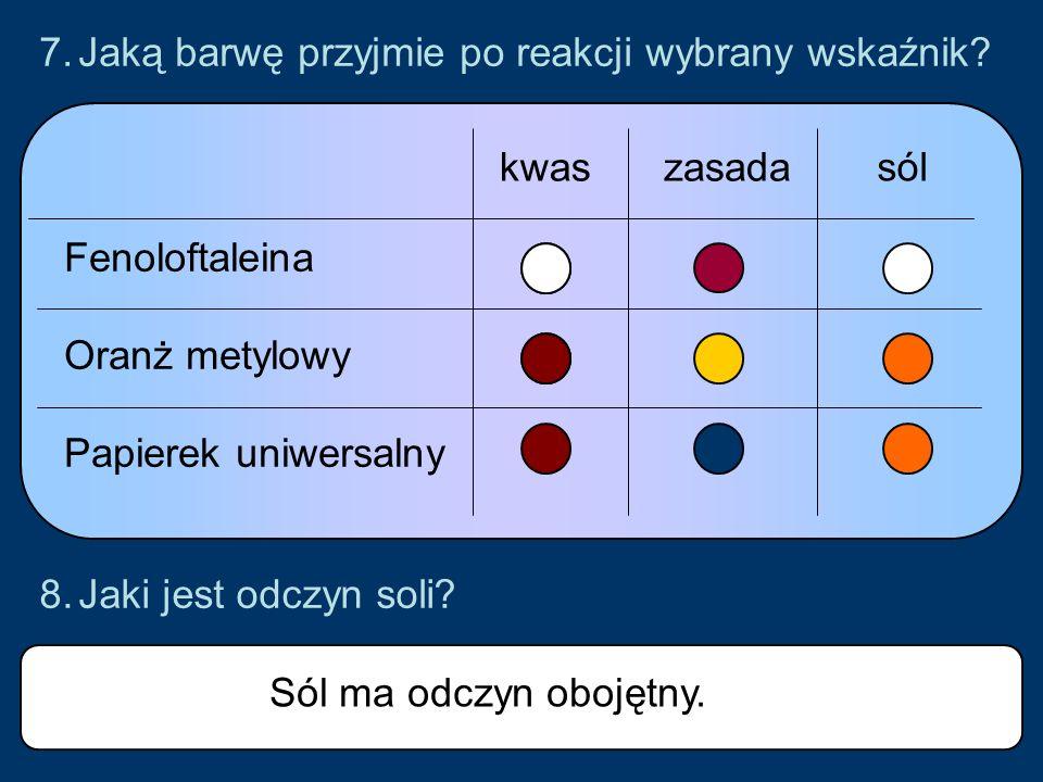 7.Jaką barwę przyjmie po reakcji wybrany wskaźnik.