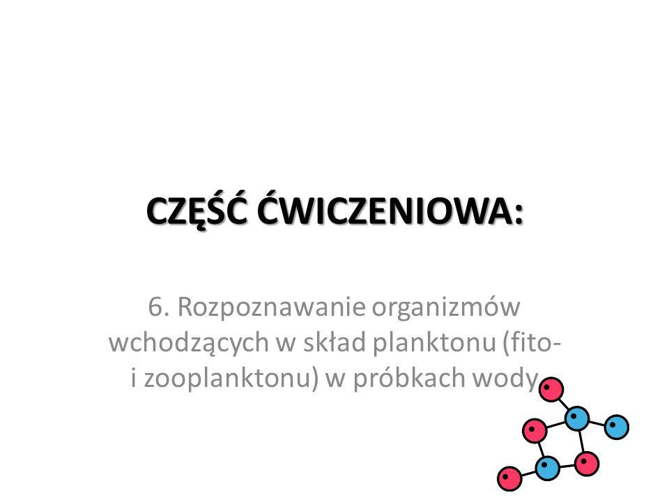 CZĘŚĆ ĆWICZENIOWA: 6. Rozpoznawanie organizmów wchodzących w skład planktonu (fito- i zooplanktonu) w próbkach wody