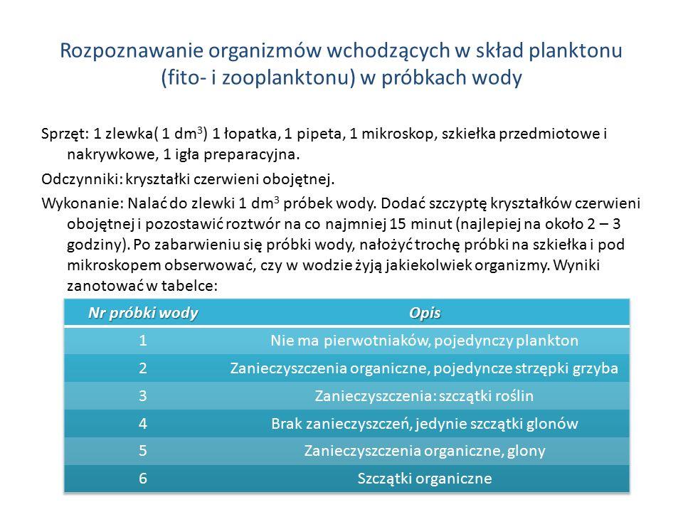 Rozpoznawanie organizmów wchodzących w skład planktonu (fito- i zooplanktonu) w próbkach wody Sprzęt: 1 zlewka( 1 dm 3 ) 1 łopatka, 1 pipeta, 1 mikros