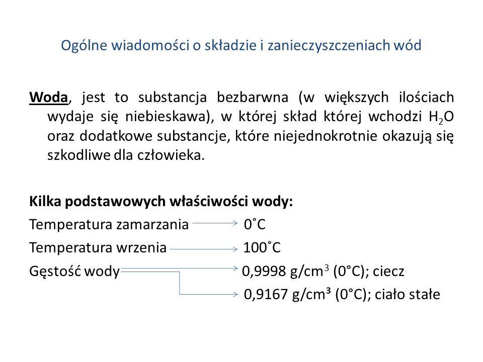 Ogólne wiadomości o składzie i zanieczyszczeniach wód Woda, jest to substancja bezbarwna (w większych ilościach wydaje się niebieskawa), w której skła