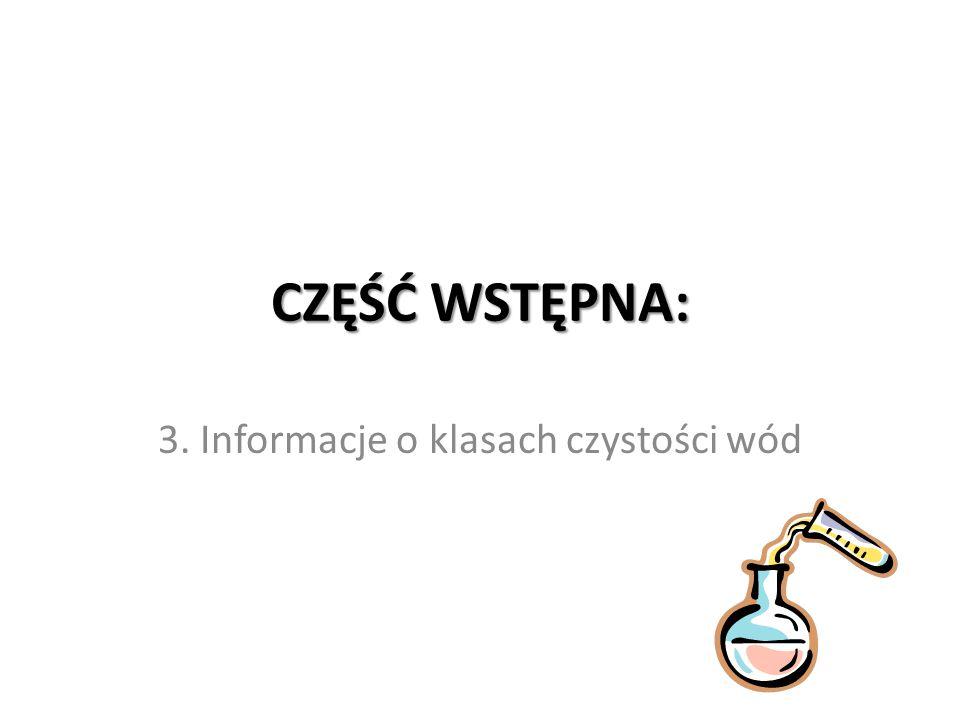 CZĘŚĆ WSTĘPNA: 3. Informacje o klasach czystości wód