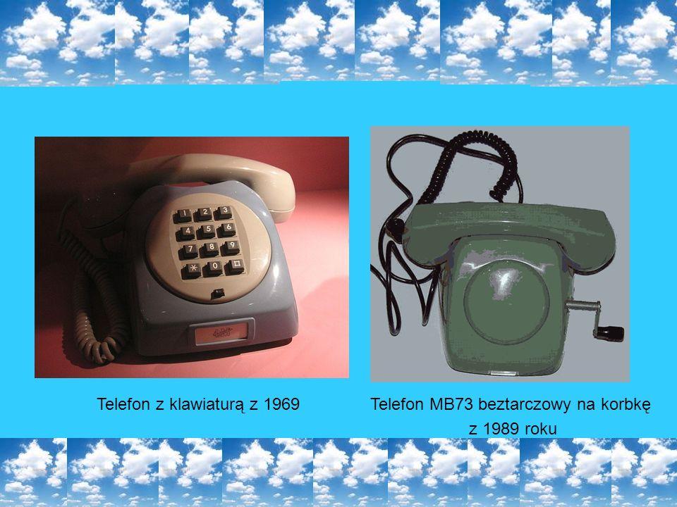 Telefon z klawiaturą z 1969Telefon MB73 beztarczowy na korbkę z 1989 roku