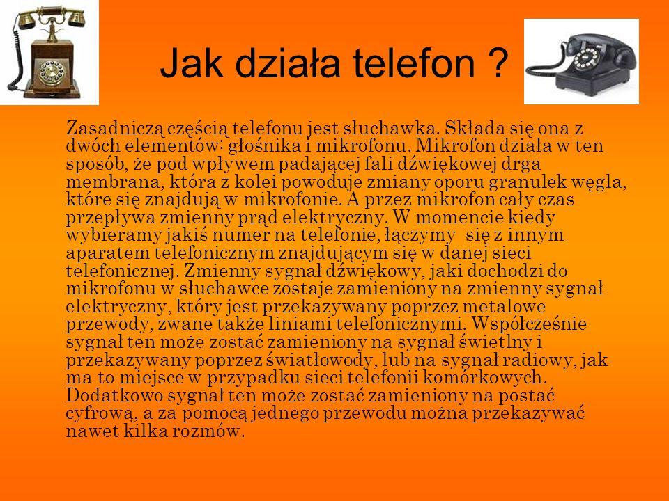 Budowa aparatu telefonicznego Głównymi częściami aparatu telefonicznego są: mikrofon zamieniający dźwięki na sygnały elektryczne słuchawka (lub głośnik) przetwarzająca sygnały elektryczne na dźwięki (mikrofon i słuchawka tworzą zwykle zespół o wspólnej obudowie, zwanej mikrotelefonem, a potocznie także słuchawką), tarcza numerowa lub klawiatura wytwarzająca sygnały wybiercze, przetwornik akustyczny lub optyczny przywołujący abonenta (dzwonek).