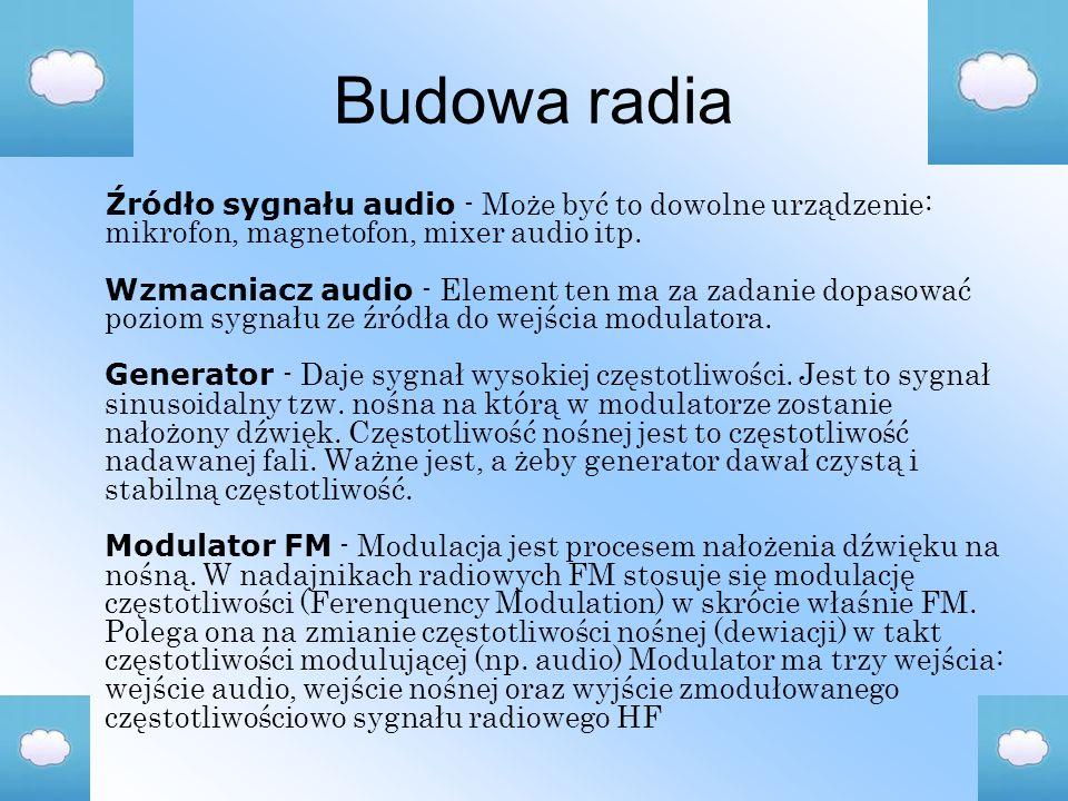 Budowa radia Źródło sygnału audio - Może być to dowolne urządzenie: mikrofon, magnetofon, mixer audio itp.