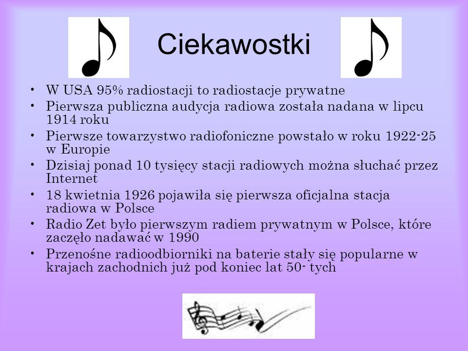 Ciekawostki W USA 95% radiostacji to radiostacje prywatne Pierwsza publiczna audycja radiowa została nadana w lipcu 1914 roku Pierwsze towarzystwo radiofoniczne powstało w roku 1922-25 w Europie Dzisiaj ponad 10 tysięcy stacji radiowych można słuchać przez Internet 18 kwietnia 1926 pojawiła się pierwsza oficjalna stacja radiowa w Polsce Radio Zet było pierwszym radiem prywatnym w Polsce, które zaczęło nadawać w 1990 Przenośne radioodbiorniki na baterie stały się popularne w krajach zachodnich już pod koniec lat 50- tych