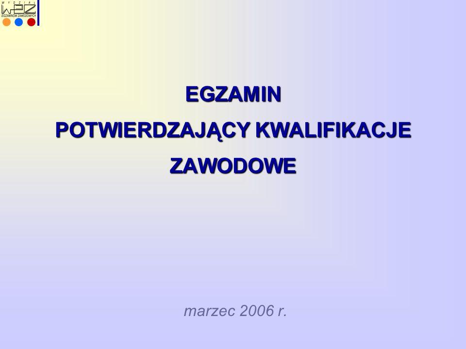 EGZAMIN POTWIERDZAJĄCY KWALIFIKACJE ZAWODOWE marzec 2006 r.