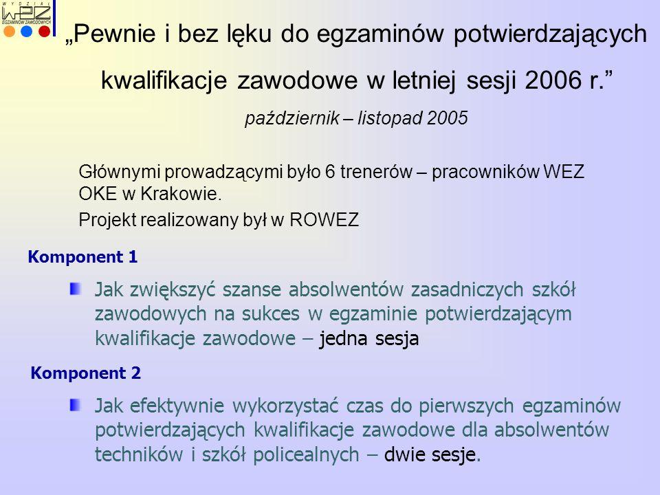 Głównymi prowadzącymi było 6 trenerów – pracowników WEZ OKE w Krakowie. Projekt realizowany był w ROWEZ Jak zwiększyć szanse absolwentów zasadniczych