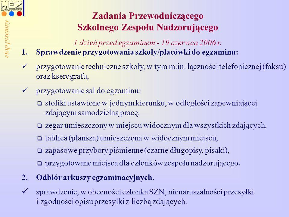 Zadania Przewodniczącego Szkolnego Zespołu Nadzorującego 1 dzień przed egzaminem - 19 czerwca 2006 r. 1.Sprawdzenie przygotowania szkoły/placówki do e