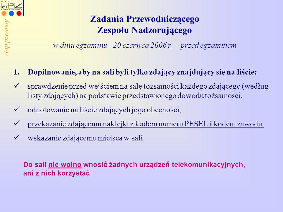 Zadania Przewodniczącego Zespołu Nadzorującego w dniu egzaminu - 20 czerwca 2006 r. - przed egzaminem 1.Dopilnowanie, aby na sali byli tylko zdający z