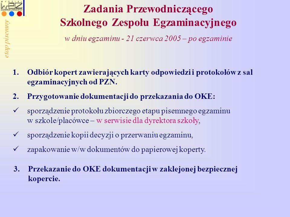 Zadania Przewodniczącego Szkolnego Zespołu Egzaminacyjnego w dniu egzaminu - 21 czerwca 2005 – po egzaminie 1.Odbiór kopert zawierających karty odpowiedzi i protokołów z sal egzaminacyjnych od PZN.