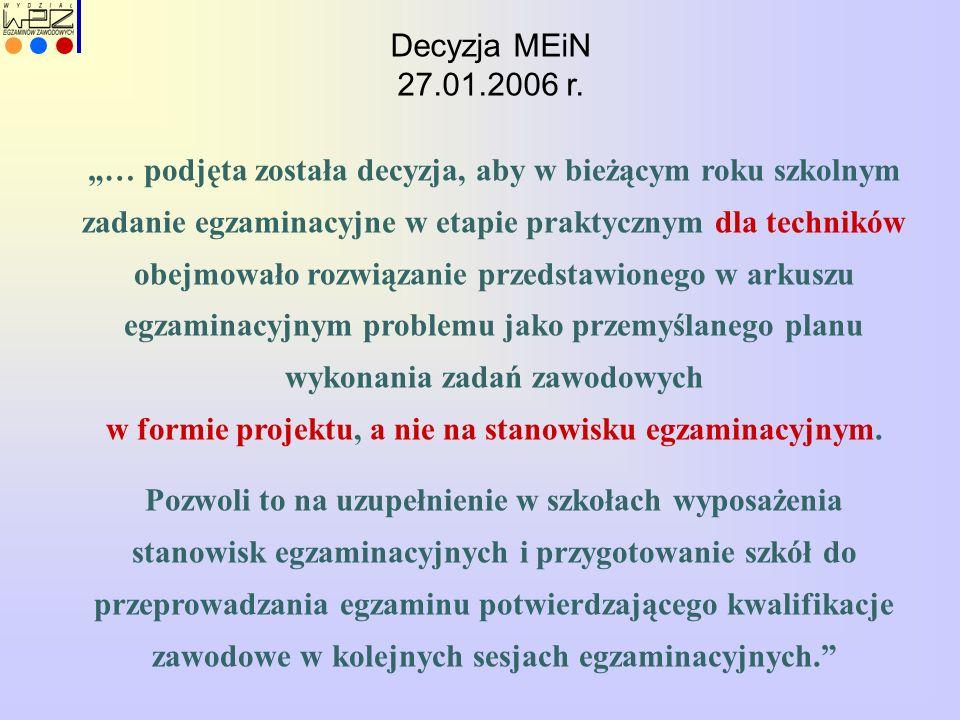 """Decyzja MEiN 27.01.2006 r. """"… podjęta została decyzja, aby w bieżącym roku szkolnym zadanie egzaminacyjne w etapie praktycznym dla techników obejmował"""