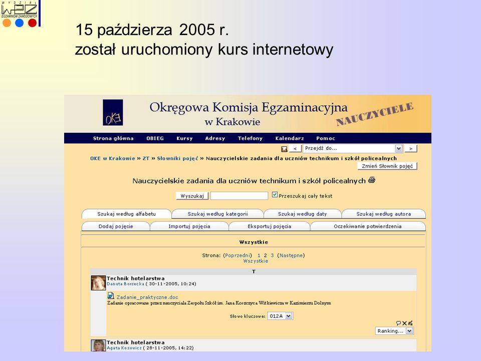 15 paździerza 2005 r. został uruchomiony kurs internetowy