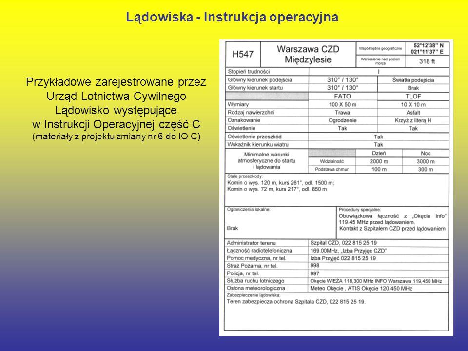 26 Przykładowe zarejestrowane przez Urząd Lotnictwa Cywilnego Lądowisko występujące w Instrukcji Operacyjnej część C (materiały z projektu zmiany nr 6 do IO C) Lądowiska - Instrukcja operacyjna