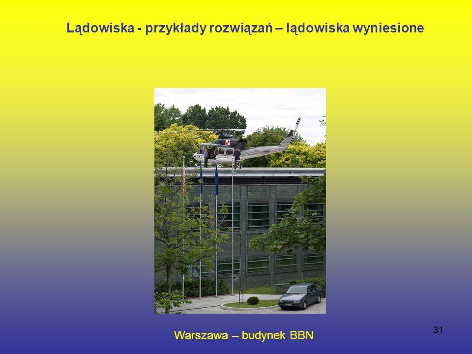 31 Warszawa – budynek BBN Lądowiska - przykłady rozwiązań – lądowiska wyniesione