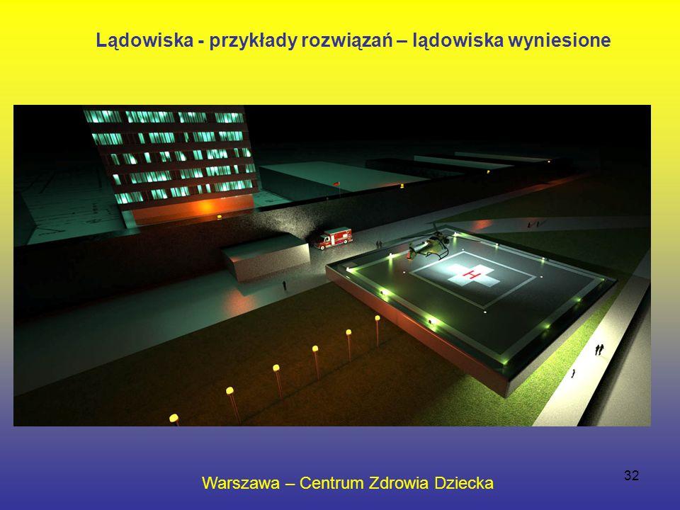32 Warszawa – Centrum Zdrowia Dziecka Lądowiska - przykłady rozwiązań – lądowiska wyniesione