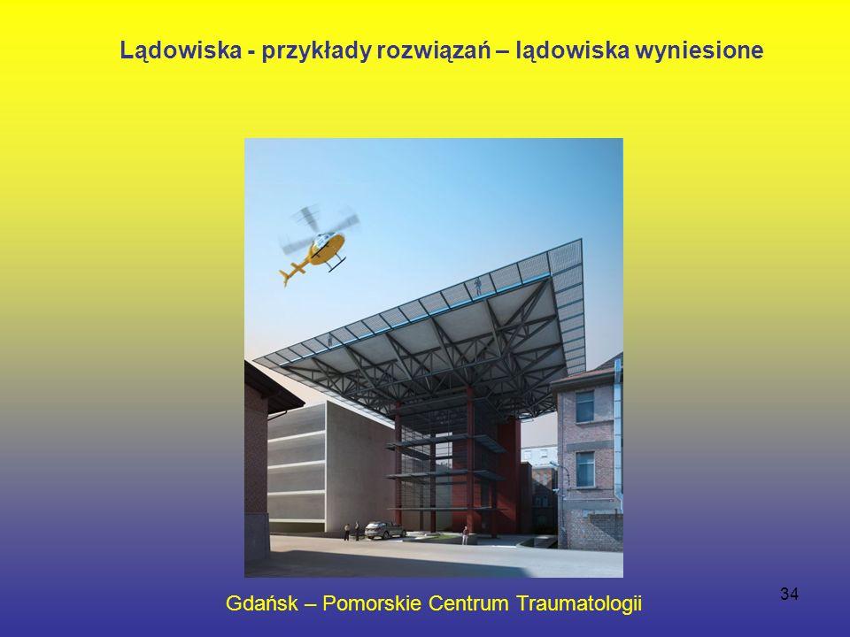 34 Gdańsk – Pomorskie Centrum Traumatologii Lądowiska - przykłady rozwiązań – lądowiska wyniesione