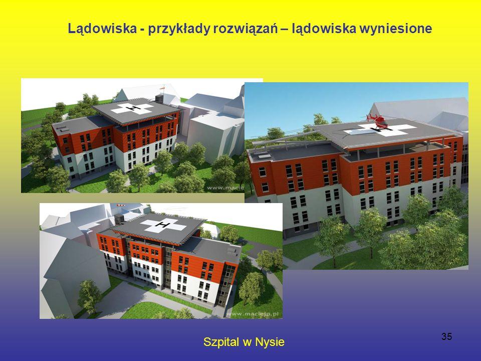 35 Szpital w Nysie Lądowiska - przykłady rozwiązań – lądowiska wyniesione