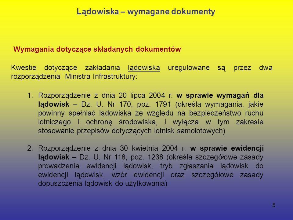 5 Wymagania dotyczące składanych dokumentów 1.Rozporządzenie z dnia 20 lipca 2004 r.
