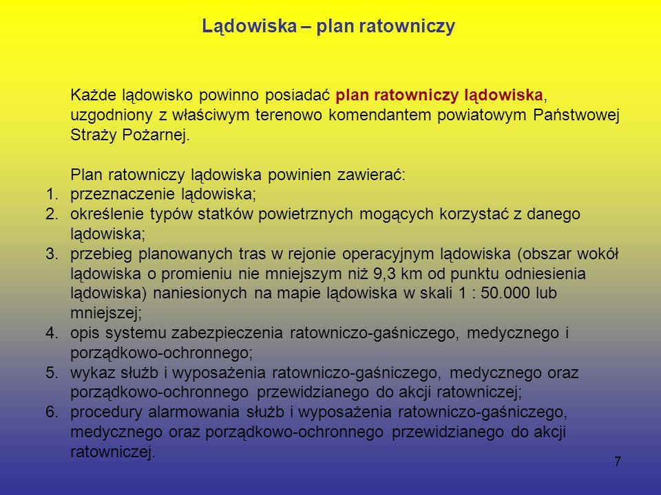 7 Każde lądowisko powinno posiadać plan ratowniczy lądowiska, uzgodniony z właściwym terenowo komendantem powiatowym Państwowej Straży Pożarnej.