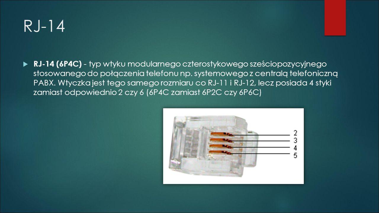 RJ-14  RJ-14 (6P4C) - typ wtyku modularnego czterostykowego sześciopozycyjnego stosowanego do połączenia telefonu np. systemowego z centralą telefoni