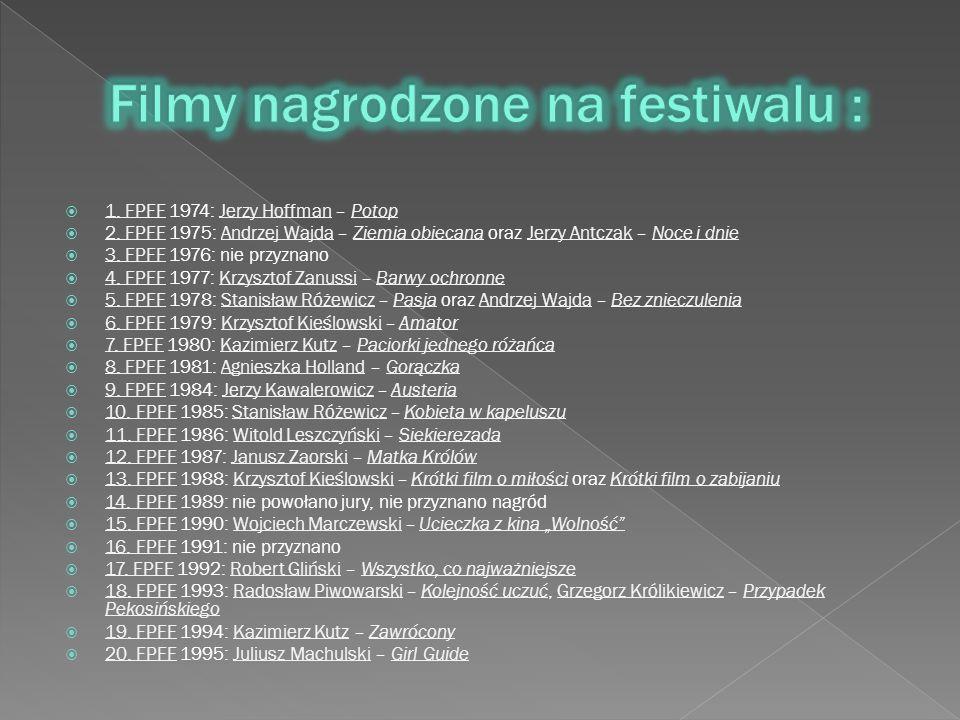  1. FPFF 1974: Jerzy Hoffman – Potop 1. FPFFJerzy HoffmanPotop  2. FPFF 1975: Andrzej Wajda – Ziemia obiecana oraz Jerzy Antczak – Noce i dnie 2. FP