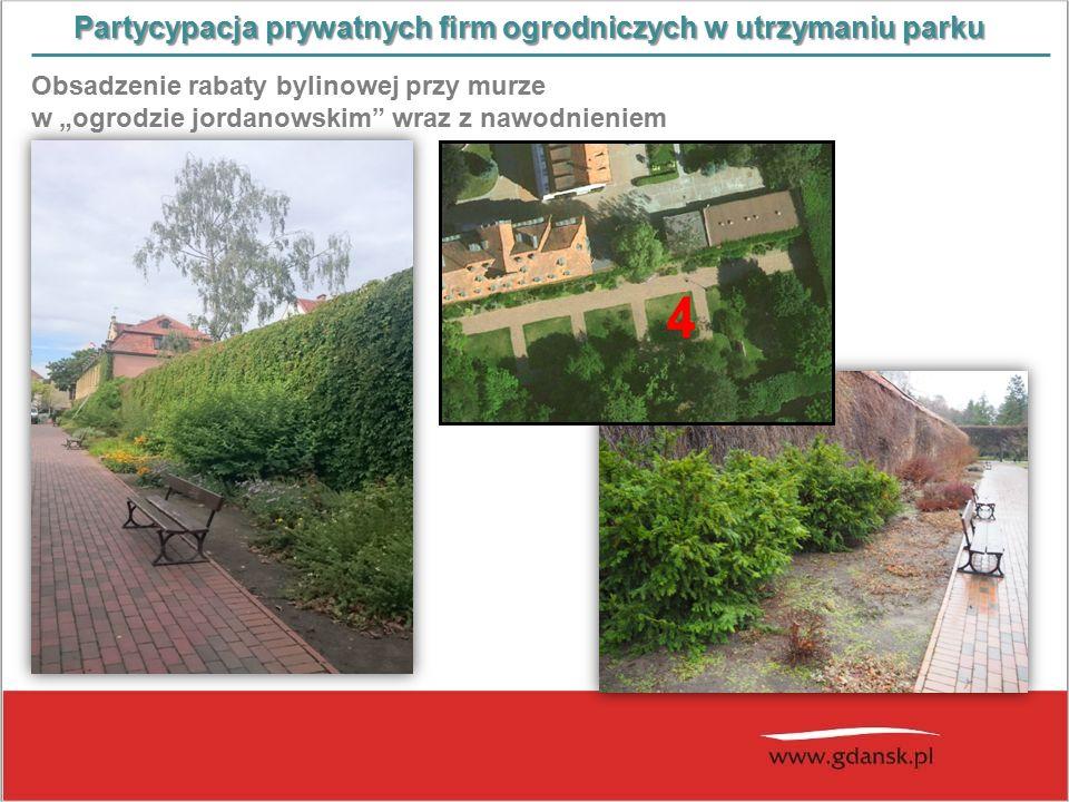 """Partycypacja prywatnych firm ogrodniczych w utrzymaniu parku Obsadzenie rabaty bylinowej przy murze w """"ogrodzie jordanowskim wraz z nawodnieniem"""