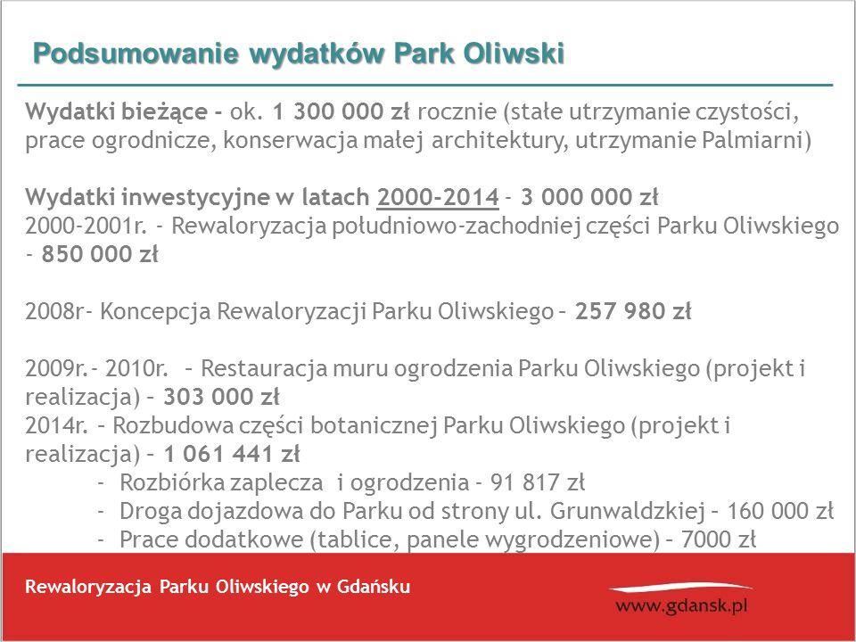 Podsumowanie wydatków Park Oliwski Rewaloryzacja Parku Oliwskiego w Gdańsku Wydatki bieżące - ok.
