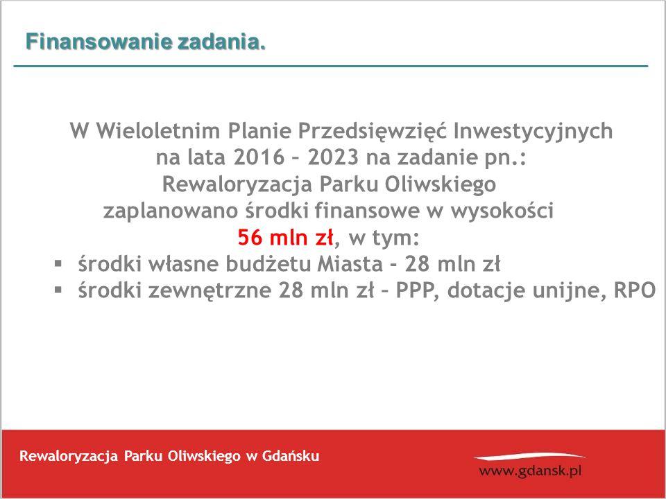 Finansowanie zadania. W Wieloletnim Planie Przedsięwzięć Inwestycyjnych na lata 2016 – 2023 na zadanie pn.: Rewaloryzacja Parku Oliwskiego zaplanowano