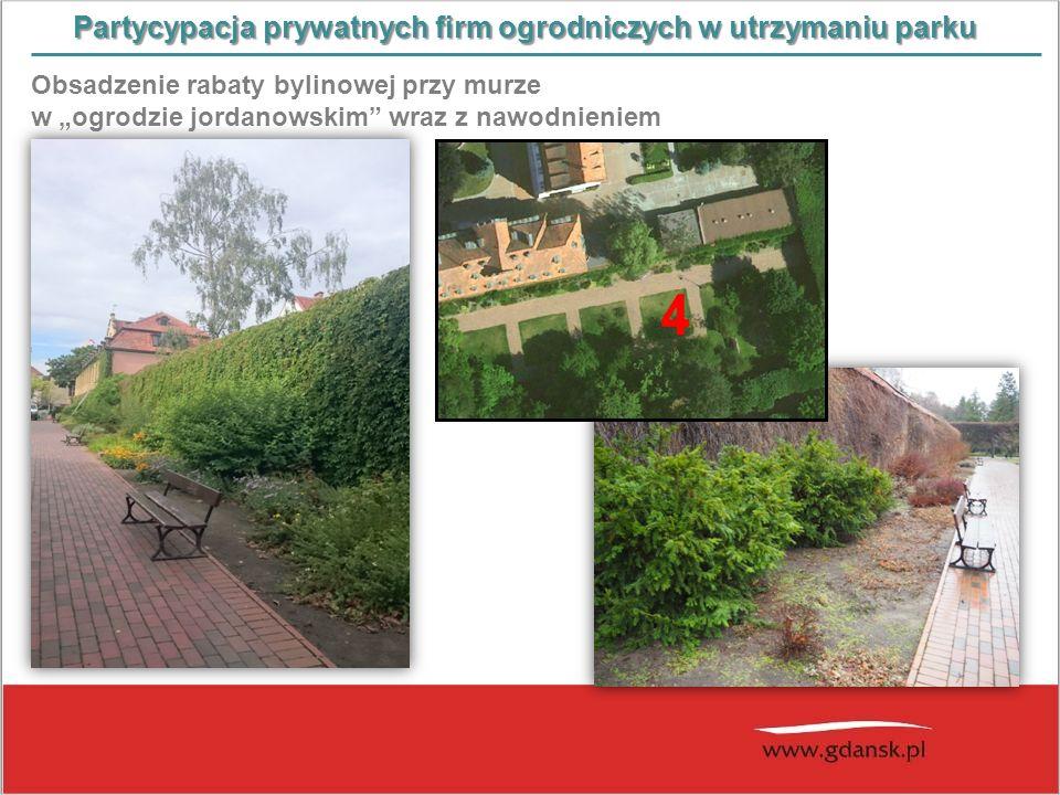 """Partycypacja prywatnych firm ogrodniczych w utrzymaniu parku Obsadzenie rabaty bylinowej przy murze w """"ogrodzie jordanowskim"""" wraz z nawodnieniem"""