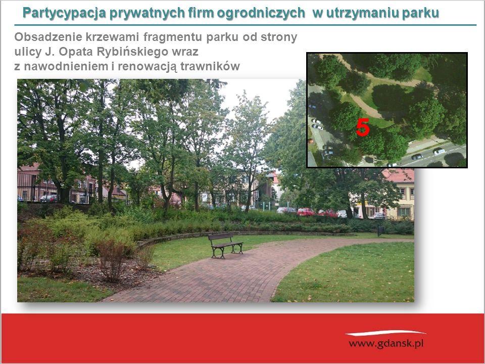 Partycypacja prywatnych firm ogrodniczych w utrzymaniu parku Obsadzenie krzewami fragmentu parku od strony ulicy J. Opata Rybińskiego wraz z nawodnien