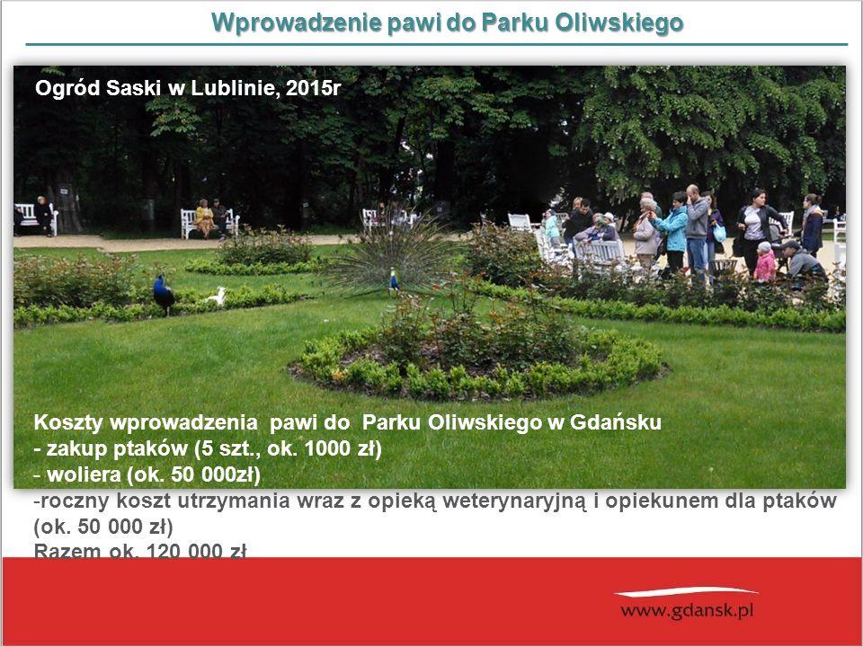 Wprowadzenie pawi do Parku Oliwskiego Koszty wprowadzenia pawi do Parku Oliwskiego w Gdańsku - zakup ptaków (5 szt., ok. 1000 zł) - woliera (ok. 50 00