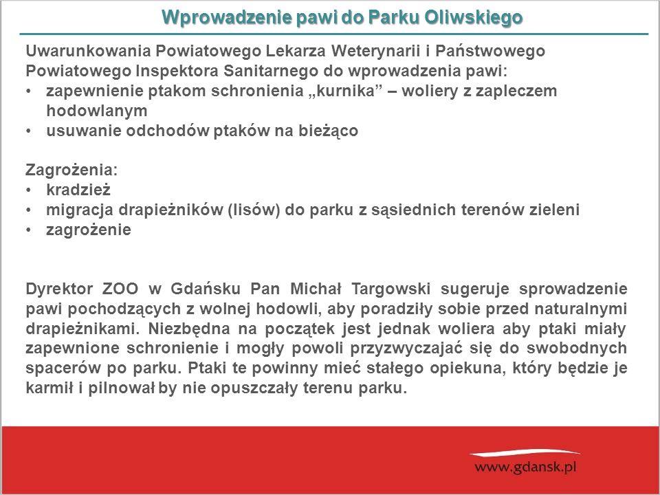 Wprowadzenie pawi do Parku Oliwskiego Uwarunkowania Powiatowego Lekarza Weterynarii i Państwowego Powiatowego Inspektora Sanitarnego do wprowadzenia p