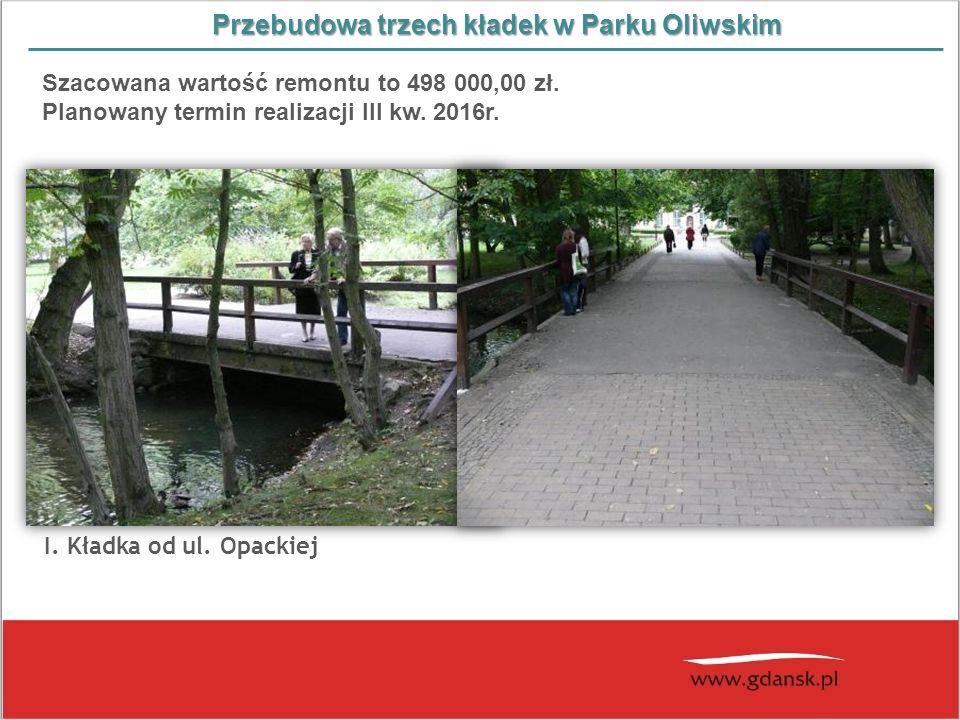 Przebudowa trzech kładek w Parku Oliwskim Szacowana wartość remontu to 498 000,00 zł. Planowany termin realizacji III kw. 2016r. Woliera dla pawi w Og