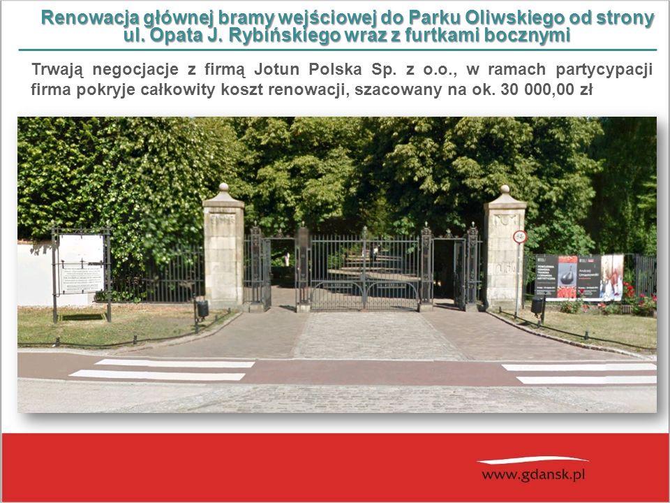 Renowacja głównej bramy wejściowej do Parku Oliwskiego od strony ul. Opata J. Rybińskiego wraz z furtkami bocznymi Trwają negocjacje z firmą Jotun Pol