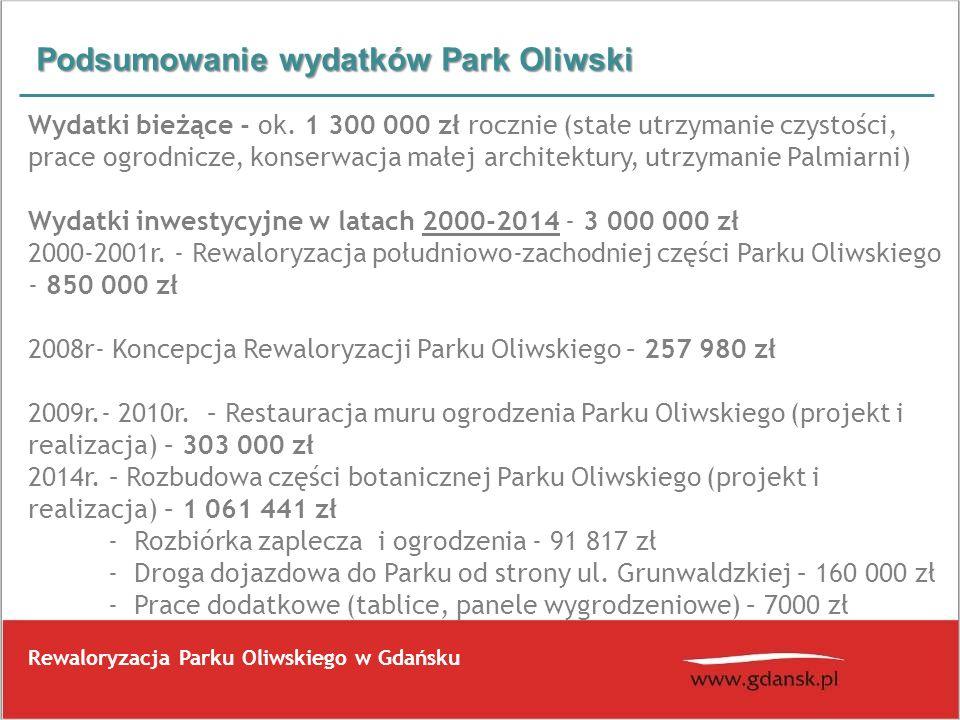 Podsumowanie wydatków Park Oliwski Rewaloryzacja Parku Oliwskiego w Gdańsku Wydatki bieżące - ok. 1 300 000 zł rocznie (stałe utrzymanie czystości, pr