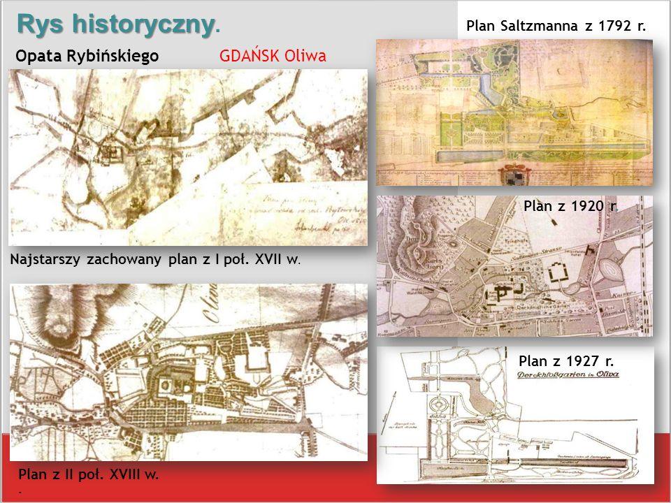 Plan z II poł. XVIII w.. Plan z 1927 r. Plan Saltzmanna z 1792 r. Rys historyczny Rys historyczny. Opata Rybińskiego GDAŃSK Oliwa Najstarszy zachowany