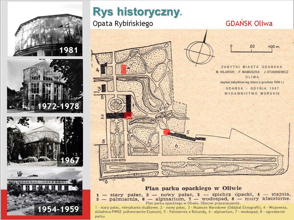 Rys historyczny Rys historyczny. Opata Rybińskiego GDAŃSK Oliwa 1981 1972-1978 1967 1954-1959 Plan parku opackiego w Oliwie. Obecne przeznaczenie. 1 –