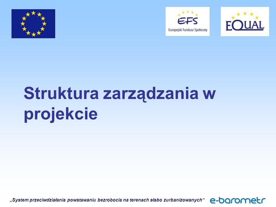 """""""System przeciwdziałania powstawaniu bezrobocia na terenach słabo zurbanizowanych Struktura zarządzania w projekcie"""