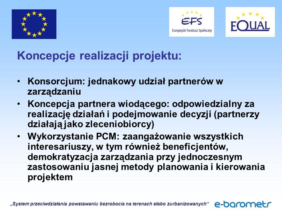 """""""System przeciwdziałania powstawaniu bezrobocia na terenach słabo zurbanizowanych Koncepcje realizacji projektu: Konsorcjum: jednakowy udział partnerów w zarządzaniu Koncepcja partnera wiodącego: odpowiedzialny za realizację działań i podejmowanie decyzji (partnerzy działają jako zleceniobiorcy) Wykorzystanie PCM: zaangażowanie wszystkich interesariuszy, w tym również beneficjentów, demokratyzacja zarządzania przy jednoczesnym zastosowaniu jasnej metody planowania i kierowania projektem"""
