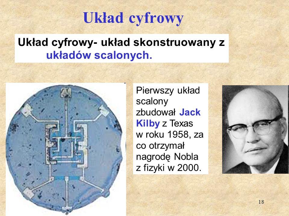 18 Układ cyfrowy Pierwszy układ scalony zbudował Jack Kilby z Texas w roku 1958, za co otrzymał nagrodę Nobla z fizyki w 2000. Układ cyfrowy- układ sk