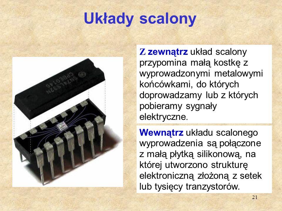 21 Układy scalony Z zewnątrz układ scalony przypomina małą kostkę z wyprowadzonymi metalowymi końcówkami, do których doprowadzamy lub z których pobier
