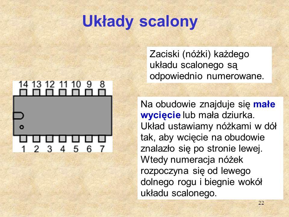 22 Układy scalony Zaciski (nóżki) każdego układu scalonego są odpowiednio numerowane. Na obudowie znajduje się małe wycięcie lub mała dziurka. Układ u