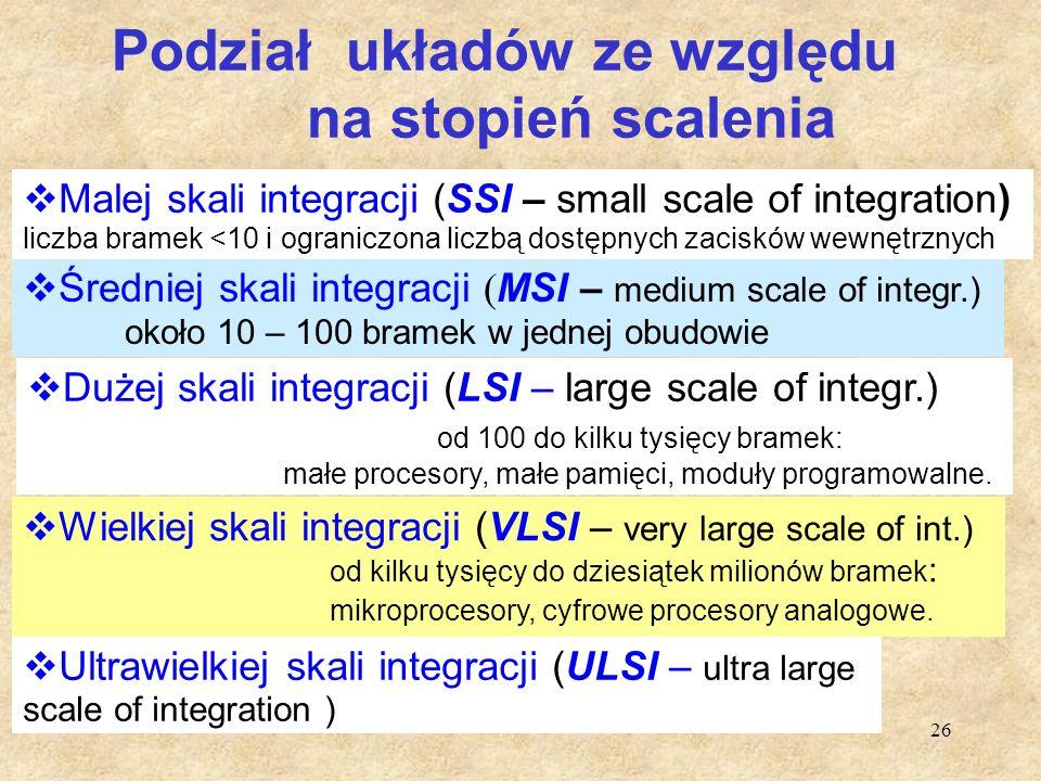 26 Podział układów ze względu na stopień scalenia  Malej skali integracji (SSI – small scale of integration) liczba bramek <10 i ograniczona liczbą d
