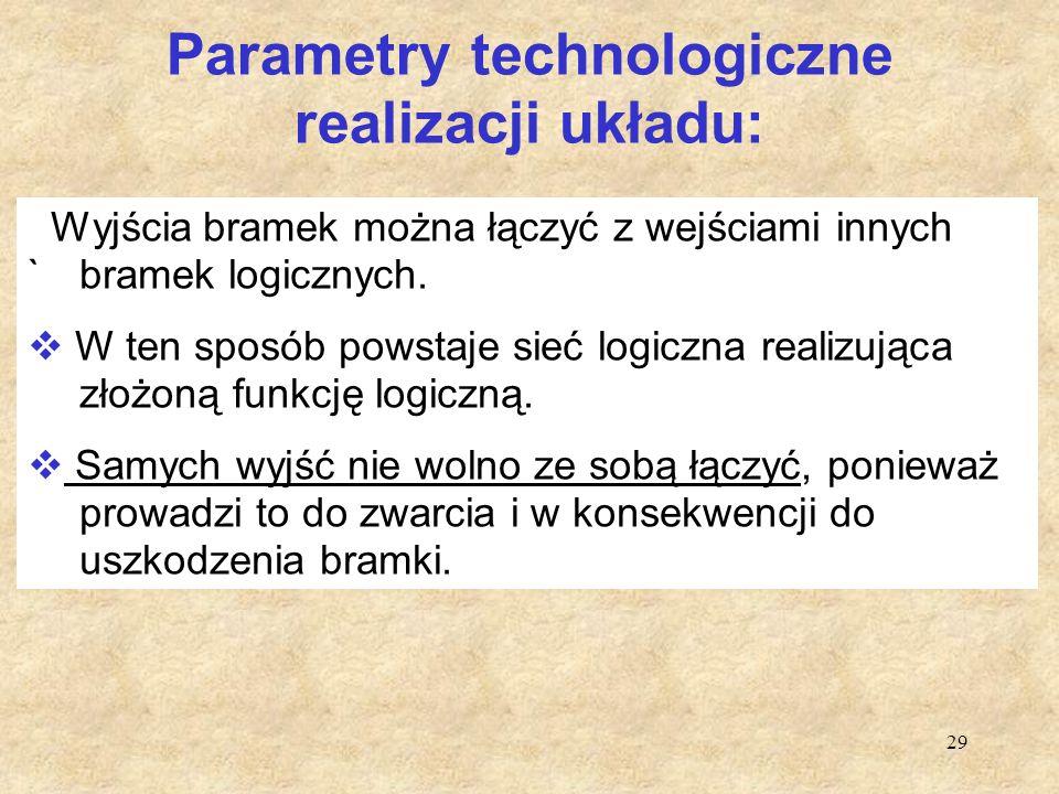 29 Parametry technologiczne realizacji układu: Wyjścia bramek można łączyć z wejściami innych `bramek logicznych.  W ten sposób powstaje sieć logiczn